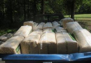 Twenty-five bags of shavings in the back of my truck.