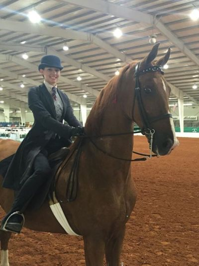 Katie with her first suit horse, CH Radiant Event (Roger). Photo by Terri Croxton