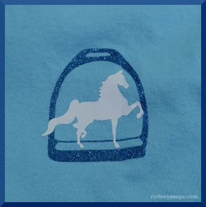 The Sassy Equestrian Glitter Saddlebred Front design (Not to scale. Front image is pocket-sized.)